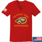 MAC Ladies Calumet High Wolverines V-Neck T-Shirts, V-Neck SMALL / Red by Ballistic Ink - Made in America USA