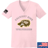 MAC Ladies Calumet High Wolverines V-Neck T-Shirts, V-Neck SMALL / Light Pink by Ballistic Ink - Made in America USA