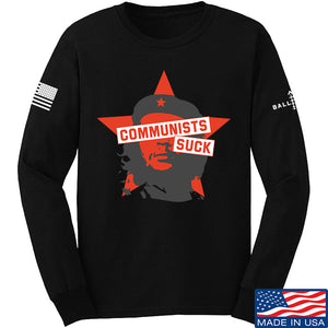 MAC Communists Suck Long Sleeve T-Shirt Long Sleeve Small / White by Ballistic Ink - Made in America USA