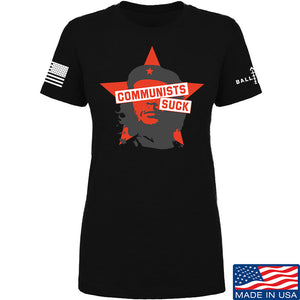 MAC Ladies Communists Suck T-Shirt T-Shirts SMALL / Light Grey by Ballistic Ink - Made in America USA