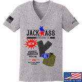 MAC Ladies Double Barreled Magazine V-Neck T-Shirts, V-Neck SMALL / Light Grey by Ballistic Ink - Made in America USA