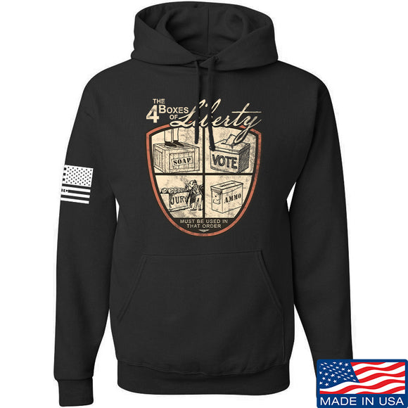 MAC Four Boxes Of Liberty Hoodie Hoodies Small / Black by Ballistic Ink - Made in America USA