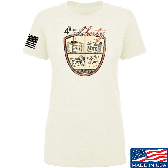 MAC Ladies Four Boxes Of Liberty T-Shirt T-Shirts SMALL / Cream by Ballistic Ink - Made in America USA