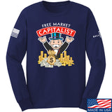MAC Free Market Capitalist Long Sleeve T-Shirt Long Sleeve Small / Navy by Ballistic Ink - Made in America USA