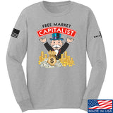 MAC Free Market Capitalist Long Sleeve T-Shirt Long Sleeve Small / Light Grey by Ballistic Ink - Made in America USA