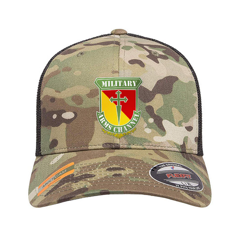 MAC MAC Military Arms Channel Logo Flexfit® Multicam® Trucker Mesh Cap Headwear Multicam by Ballistic Ink - Made in America USA