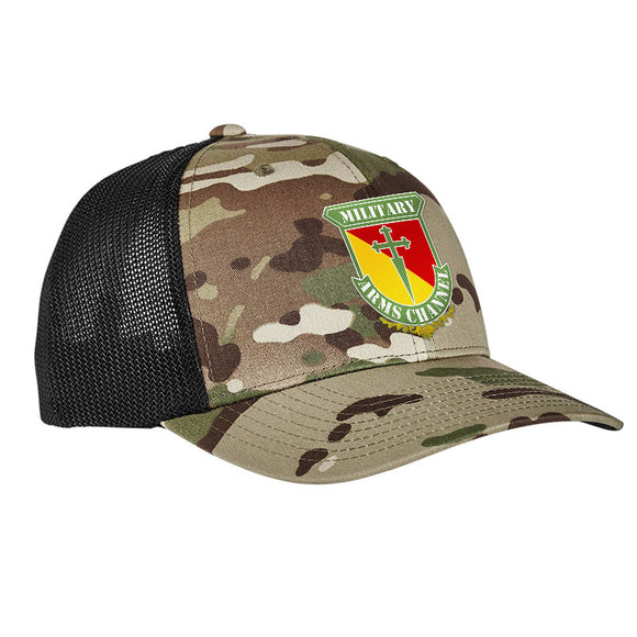MAC MAC Military Arms Channel Logo Flexfit® Multicam® Trucker Mesh Cap Headwear [variant_title] by Ballistic Ink - Made in America USA