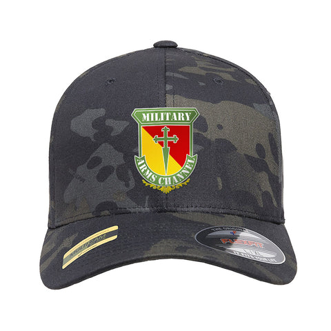 MAC MAC Military Arms Channel Logo Flexfit® Multicam® Trucker Cap Headwear Black Multicam S/M by Ballistic Ink - Made in America USA