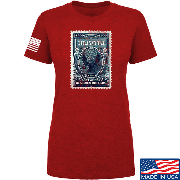 MAC Ladies Tyranny Tax T-Shirt T-Shirts SMALL / Red by Ballistic Ink - Made in America USA