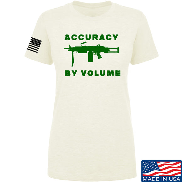 Men of Arms Apparel Ladies Accuracy by Volume T-Shirt T-Shirts SMALL / Cream by Ballistic Ink - Made in America USA
