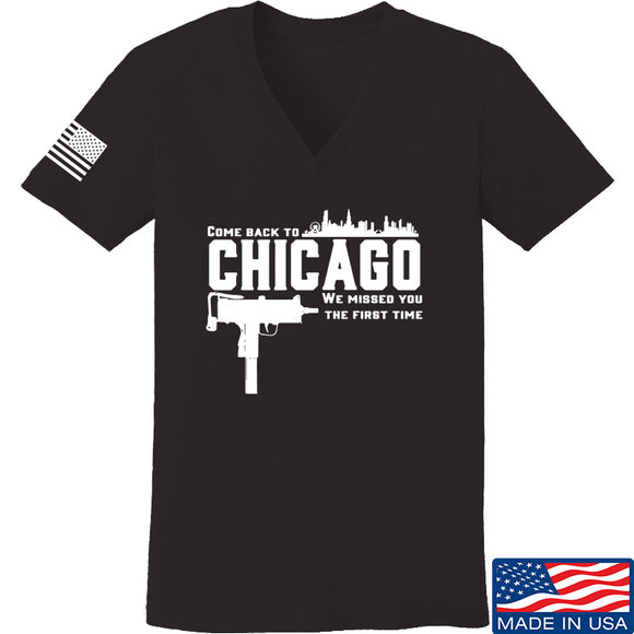 Men of Arms Apparel Ladies Chicago V-Neck T-Shirts, V-Neck SMALL / Black by Ballistic Ink - Made in America USA