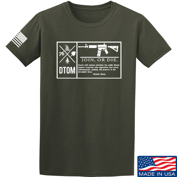 Men of Arms Apparel DTOM Join or Die T-Shirt T-Shirts Small / Military Green by Ballistic Ink - Made in America USA