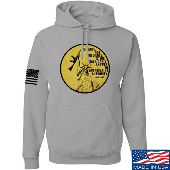 Men of Arms Apparel Defiance Not Obedience Hoodie Hoodies Small / Light Grey by Ballistic Ink - Made in America USA