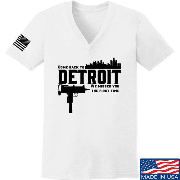 Men of Arms Apparel Ladies Detroit V-Neck T-Shirts, V-Neck SMALL / White by Ballistic Ink - Made in America USA