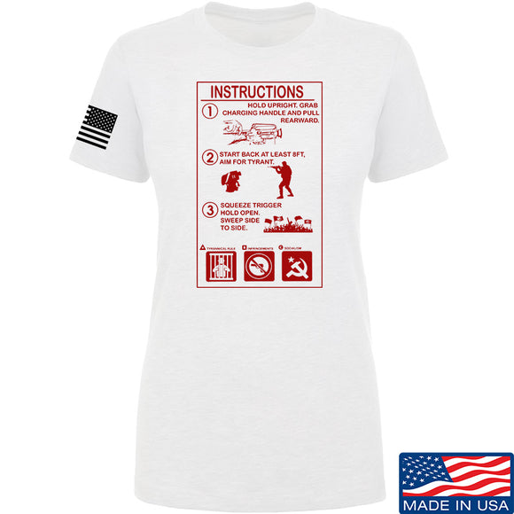 Men of Arms Apparel Ladies Extinguisher Instructions T-Shirt T-Shirts SMALL / White by Ballistic Ink - Made in America USA