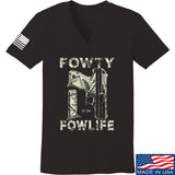 Men of Arms Apparel Ladies Fowty Fowlife Benjamin V-Neck T-Shirts, V-Neck SMALL / Black by Ballistic Ink - Made in America USA