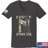 Men of Arms Apparel Ladies Fowty Fowlife Benjamin V-Neck T-Shirts, V-Neck SMALL / Charcoal by Ballistic Ink - Made in America USA