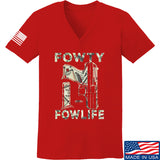 Men of Arms Apparel Ladies Fowty Fowlife Benjamin V-Neck T-Shirts, V-Neck SMALL / Red by Ballistic Ink - Made in America USA