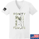 Men of Arms Apparel Ladies Fowty Fowlife Benjamin V-Neck T-Shirts, V-Neck SMALL / White by Ballistic Ink - Made in America USA