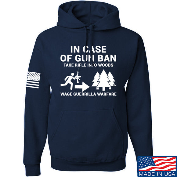 Men of Arms Apparel In Case Of Gun Ban Hoodie Hoodies Small / Navy by Ballistic Ink - Made in America USA