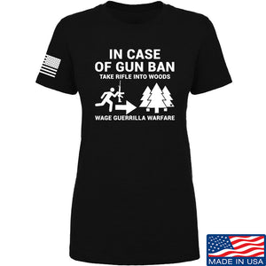 Men of Arms Apparel Ladies In Case Of Gun Ban T-Shirt T-Shirts SMALL / Charcoal by Ballistic Ink - Made in America USA