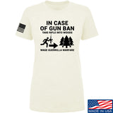 Men of Arms Apparel Ladies In Case Of Gun Ban T-Shirt T-Shirts SMALL / Cream by Ballistic Ink - Made in America USA