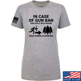 Men of Arms Apparel Ladies In Case Of Gun Ban T-Shirt T-Shirts SMALL / Light Grey by Ballistic Ink - Made in America USA