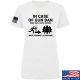 Men of Arms Apparel Ladies In Case Of Gun Ban T-Shirt T-Shirts SMALL / White by Ballistic Ink - Made in America USA