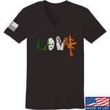Men of Arms Apparel Ladies Irish Love V-Neck T-Shirts, V-Neck SMALL / Black by Ballistic Ink - Made in America USA