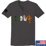 Men of Arms Apparel Ladies Irish Love V-Neck T-Shirts, V-Neck SMALL / Charcoal by Ballistic Ink - Made in America USA