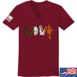 Men of Arms Apparel Ladies Irish Love V-Neck T-Shirts, V-Neck SMALL / Cranberry by Ballistic Ink - Made in America USA