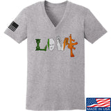 Men of Arms Apparel Ladies Irish Love V-Neck T-Shirts, V-Neck SMALL / Light Grey by Ballistic Ink - Made in America USA