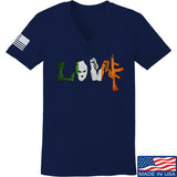 Men of Arms Apparel Ladies Irish Love V-Neck T-Shirts, V-Neck SMALL / Navy by Ballistic Ink - Made in America USA