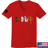 Men of Arms Apparel Ladies Irish Love V-Neck T-Shirts, V-Neck SMALL / Red by Ballistic Ink - Made in America USA