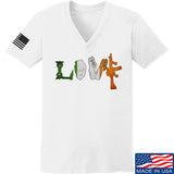 Men of Arms Apparel Ladies Irish Love V-Neck T-Shirts, V-Neck SMALL / White by Ballistic Ink - Made in America USA