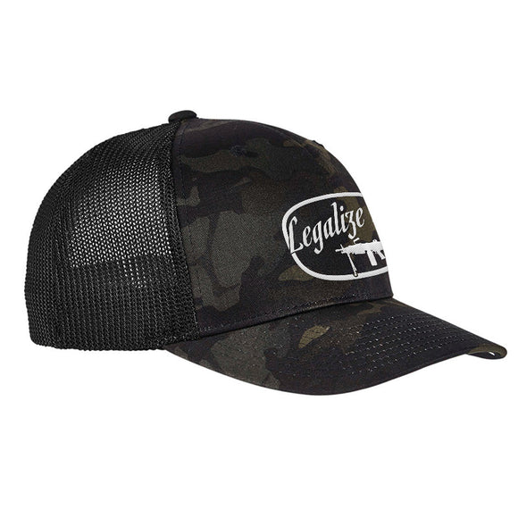 Men of Arms Apparel Legalize It Flexfit® Multicam® Trucker Mesh Cap Headwear Black Multicam by Ballistic Ink - Made in America USA