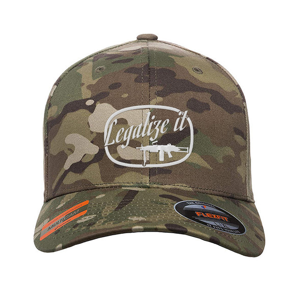 Men of Arms Apparel Legalize It Flexfit® Multicam® Trucker Cap Headwear Multicam S/M by Ballistic Ink - Made in America USA