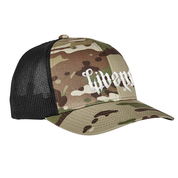 Men of Arms Apparel Liberty or Death Flexfit® Multicam® Trucker Mesh Cap Headwear Multicam by Ballistic Ink - Made in America USA