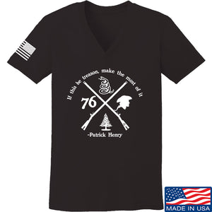 Men of Arms Apparel Ladies Patrick Henry Revolution V-Neck T-Shirts, V-Neck SMALL / Light Pink by Ballistic Ink - Made in America USA