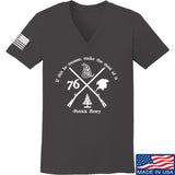 Men of Arms Apparel Ladies Patrick Henry Revolution V-Neck T-Shirts, V-Neck SMALL / Charcoal by Ballistic Ink - Made in America USA