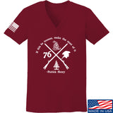 Men of Arms Apparel Ladies Patrick Henry Revolution V-Neck T-Shirts, V-Neck SMALL / Cranberry by Ballistic Ink - Made in America USA