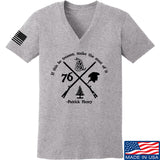 Men of Arms Apparel Ladies Patrick Henry Revolution V-Neck T-Shirts, V-Neck SMALL / Light Grey by Ballistic Ink - Made in America USA
