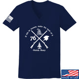 Men of Arms Apparel Ladies Patrick Henry Revolution V-Neck T-Shirts, V-Neck SMALL / Navy by Ballistic Ink - Made in America USA