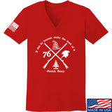 Men of Arms Apparel Ladies Patrick Henry Revolution V-Neck T-Shirts, V-Neck SMALL / Red by Ballistic Ink - Made in America USA