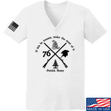 Men of Arms Apparel Ladies Patrick Henry Revolution V-Neck T-Shirts, V-Neck SMALL / White by Ballistic Ink - Made in America USA