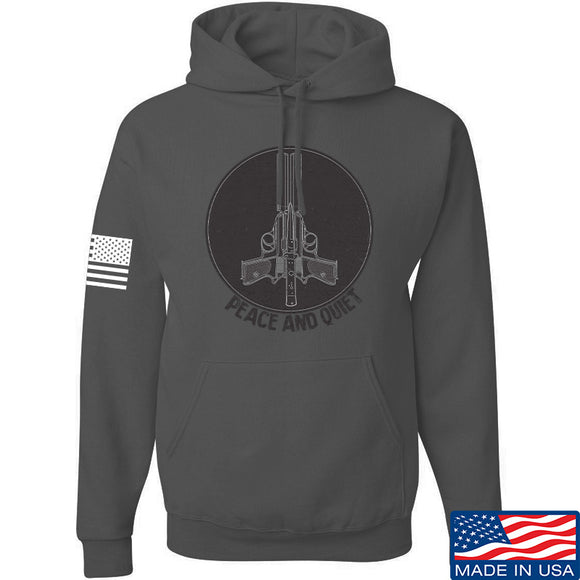 Men of Arms Apparel Peace And Quiet Hoodie Hoodies Small / Charcoal by Ballistic Ink - Made in America USA