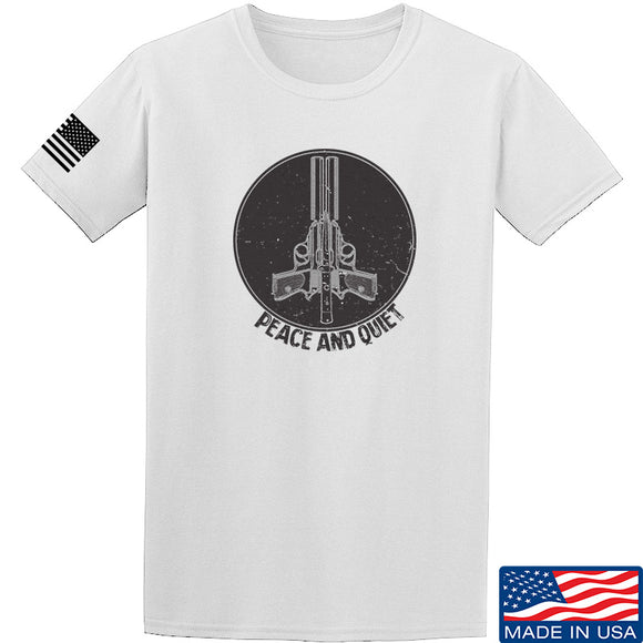 Men of Arms Apparel Peace And Quiet T-Shirt T-Shirts Small / White by Ballistic Ink - Made in America USA
