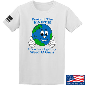 Men of Arms Apparel Protect the Earth Weed and Guns T-Shirt T-Shirts Small / Light Grey by Ballistic Ink - Made in America USA