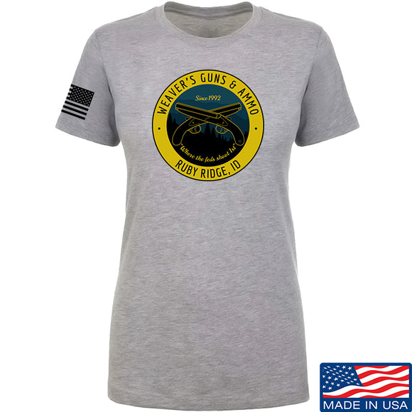 Men of Arms Apparel Ladies Randy Weaver's Guns And Ammo T-Shirt T-Shirts SMALL / Light Grey by Ballistic Ink - Made in America USA