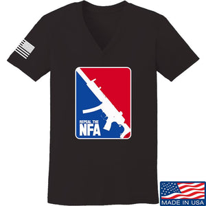 Men of Arms Apparel Ladies Repeal the NFA V-Neck T-Shirts, V-Neck SMALL / Navy by Ballistic Ink - Made in America USA
